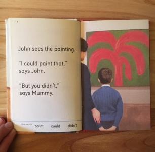 """Juan mira la pintura. """"Yo podría pintar eso"""", dice Juan. """"Pero no lo hiciste"""", dice mami."""